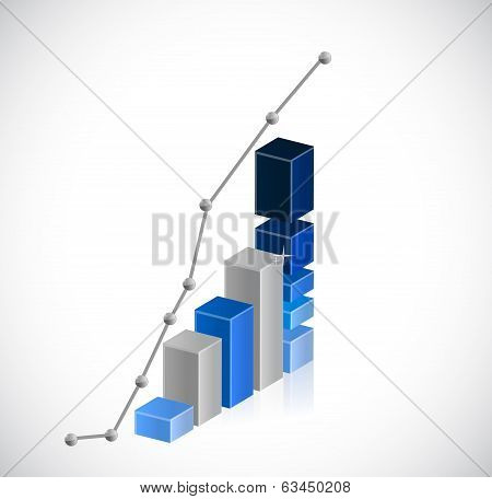 Business Graph And Dots Illustration Design