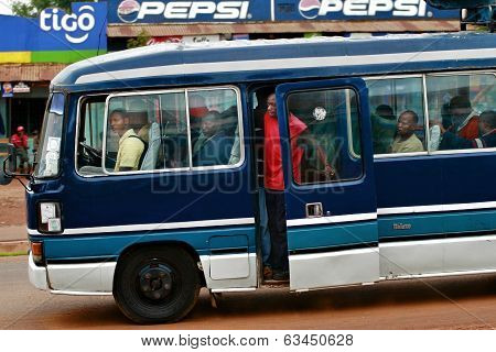 Africans People Are Traveling In The Cabin Blue Local Bus