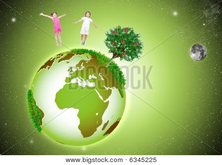 Green Beautiful Earth In The Space, With Two Happy Children