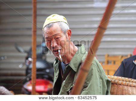 Chinese man in Luodai Chengdu China
