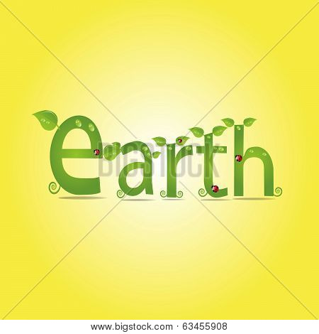 Earth, Alphabet With Green Leaf, Eco Concept