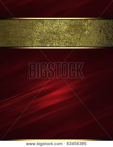 Red Texture C Gold Nameplate. Design Template.