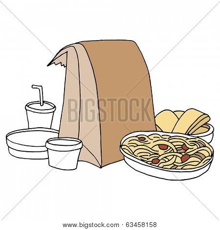 An image of takeout Italian food.