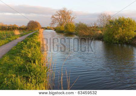 Somerset canalBridgwater and Taunton England UK peaceful waterway