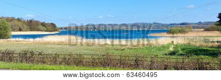 Panorama Chew Valley Lake and reservoir Somerset England uk