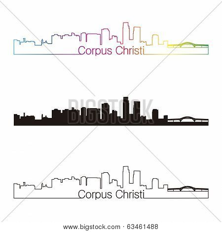 Corpus Christi Skyline Linear Style With Rainbow