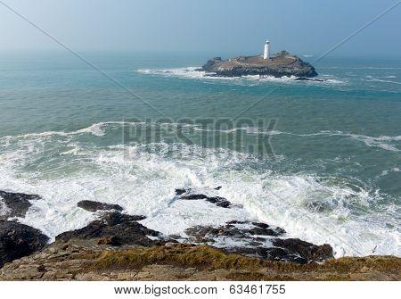Godrevy lighthouse island St Ives Bay Cornwall England UK