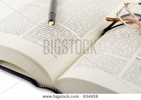 Open Book And A Pen