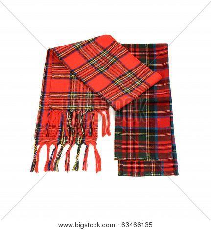 Tartan winter scarves with fringe.
