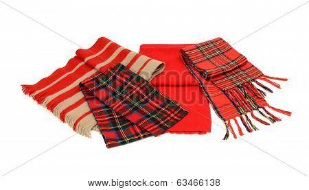 Cute winter tartan scarves with fringe.