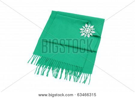 Nicely folded winter scarf with fringe.