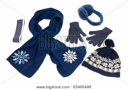 Dark blue winter accessories isolated.