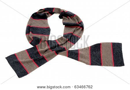 Striped grey and pink scarf for winter.