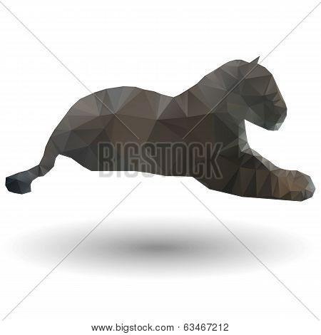 Abstract illustration of jaguar in origami style on white background