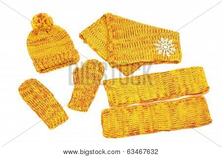 Yellow Winter accessories isolated on white background