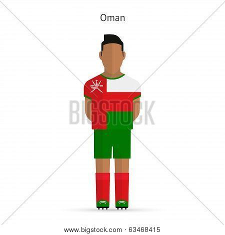 Oman football player. Soccer uniform.