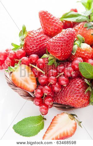Fresh Strawberry And Redcurrant On White