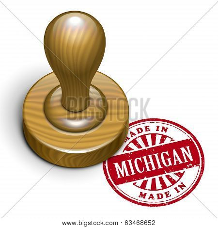 Made In Michigan Grunge Rubber Stamp