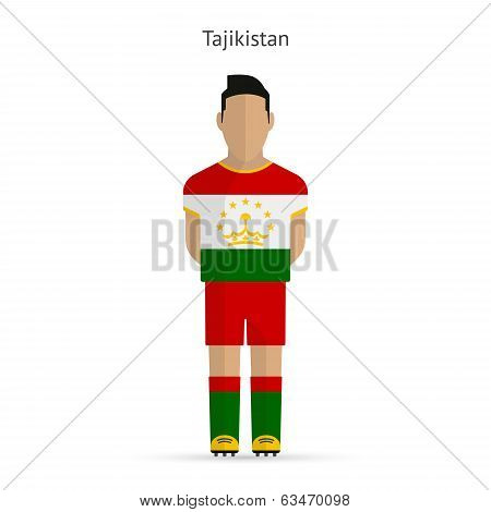 Tajikistan football player. Soccer uniform.
