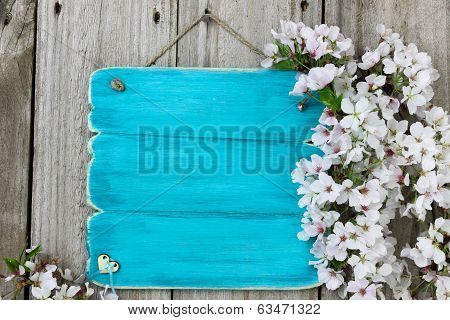 Antique blue sign with spring tree blossoms