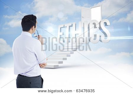 The word ethics and businessman holding glasses against steps leading to open door in the sky
