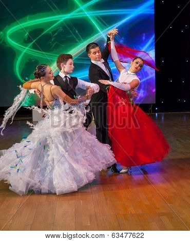 MOSCOW - MARCH 16: Unidentified children age 14-18 compete in waltz dance on the Artistic Dance European Championship, organized by World Dance Artistic Federation on March 16, 2014, in Moscow.