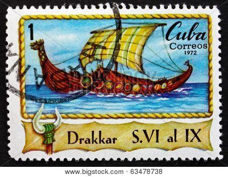 Postage Stamp Cuba 1972 Drakkar, Viking Long Boat