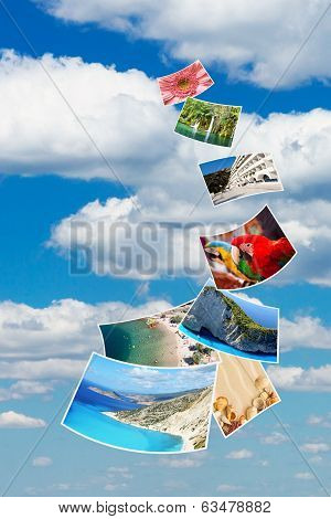 Photos Of Holiday On Blue Sky.