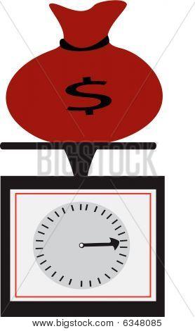 Roter Geldbeutel und Skalen