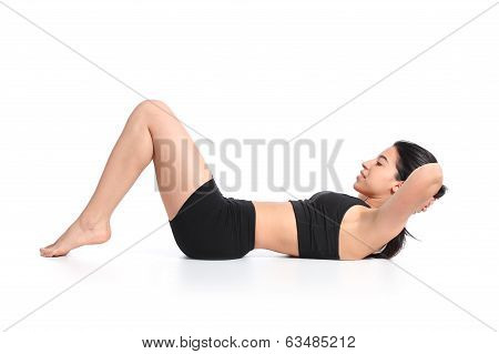 Fitness Woman Lying Doing Crunches Barefoot