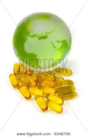 Cod Liver Oil And World Globe