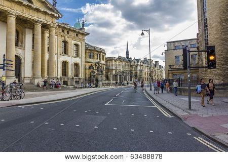 The Beginning Of Broad Street With Numerous Historical Buildings, Oxford, England