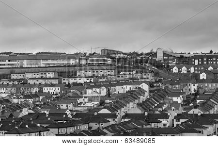 View Of Terraced Houses In Derry Northern Ireland