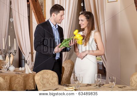 Man Giving Tulips His Girfriend