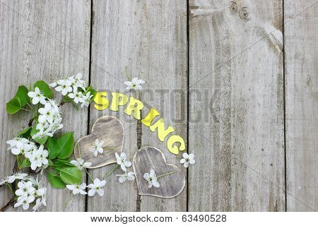 Spring tree blossoms and wood hearts border wooden fence