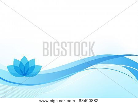 Blue wellness background with a lotus plant.