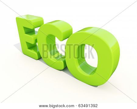 Eco icon on a white background. 3D illustration