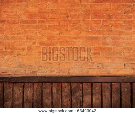 Brick and wood wall background
