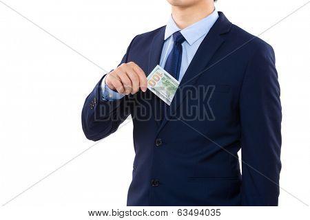 Man taking out of pocket