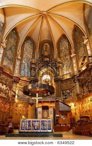 Basilica At The Montserrat Monastery Near Barcelona, Catalonia, Spain.
