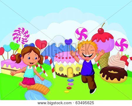 Happy children cartoon in the fantasy sweet land