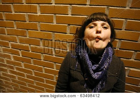 Young Woman Making Grimace