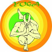 image of ashtanga vinyasa yoga  - Hand drawn illustration about the handsome yogi playing asanas positions - JPG