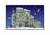 cartoon vector night city coated by snow