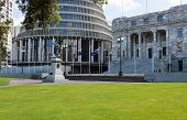 stock photo of beehive  - New Zealand Parliament government building known as Beehive in Wellington with Parliament House in foreground - JPG