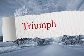 The word triumph against warped road