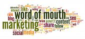 Word of mouth marketing in word tag cloud on white background