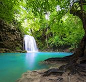 pic of greenery  - Waterfall landscape background - JPG