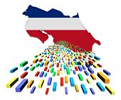 Costa Rica map flag with containers illustration