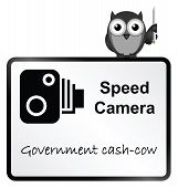 foto of cash cow  - Monochrome Speed Camera Government revenue sign isolated on white background - JPG